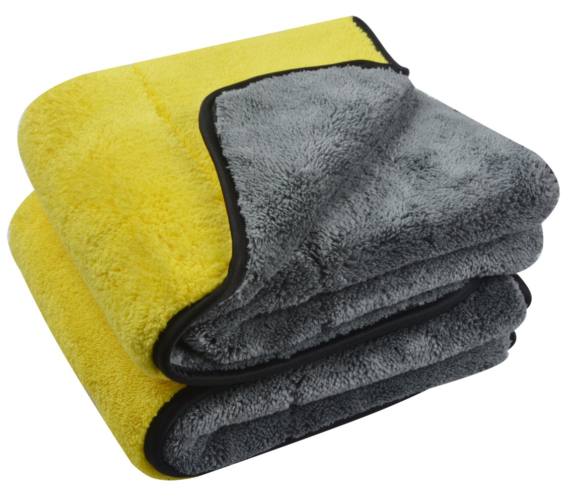 SINLAND 1000gsm Ultra Thick Plush Microfiber Car Cleaning Towels Buffing Cloths Super Absorbent Drying Auto Detailing Towel (16''x24'', 2Pack(Yellow/Grey x 2))