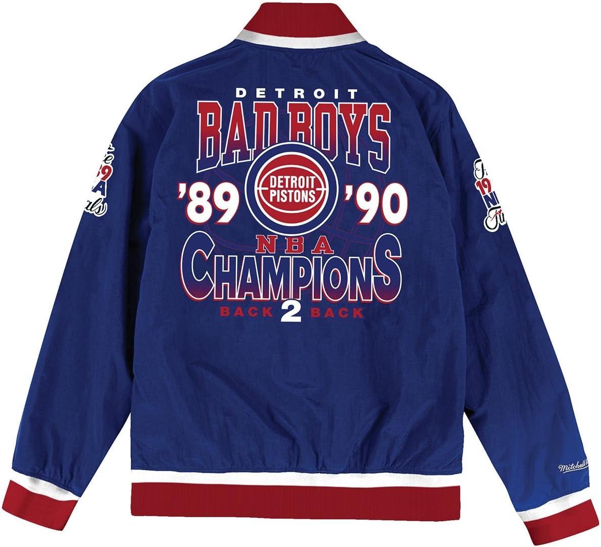 Mitchell /& Ness Detroit Pistons Team History Warm Up Jacket Blue