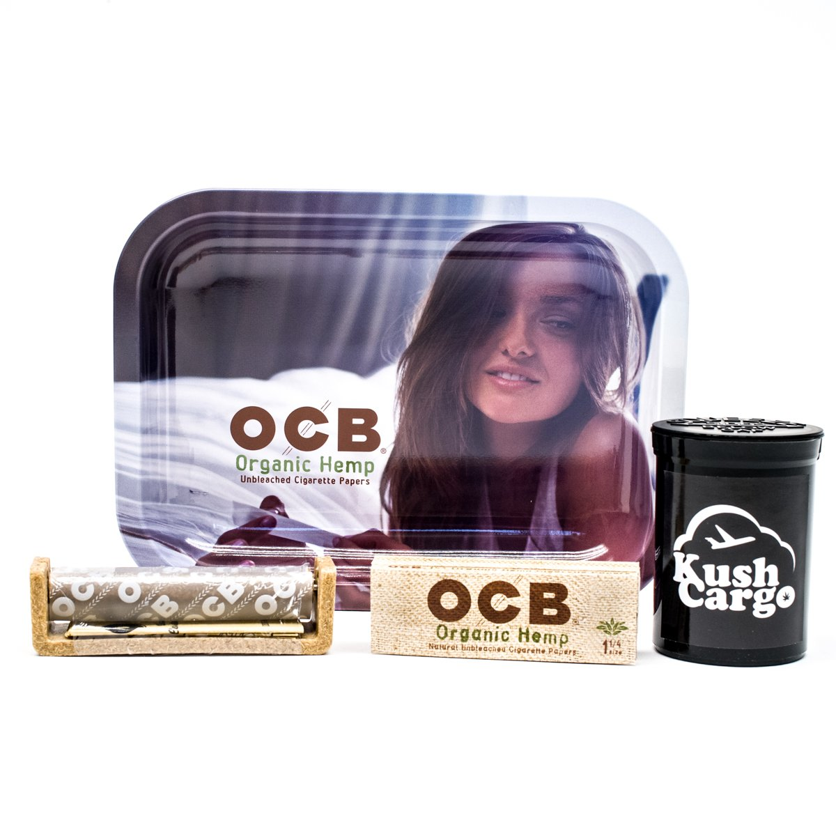 Bundle - 4 Items - OCB Rolling Tray Travel Size with OCB Rolling Papers and Roller (Girl)