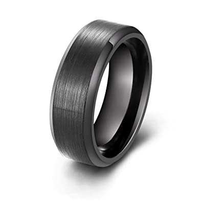 Laoyou Mens Wedding Rings 8mm Black Stainless Steel Brush Finish