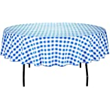 LinenTablecloth 90-Inch Round Polyester Tablecloth Blue & White Checker