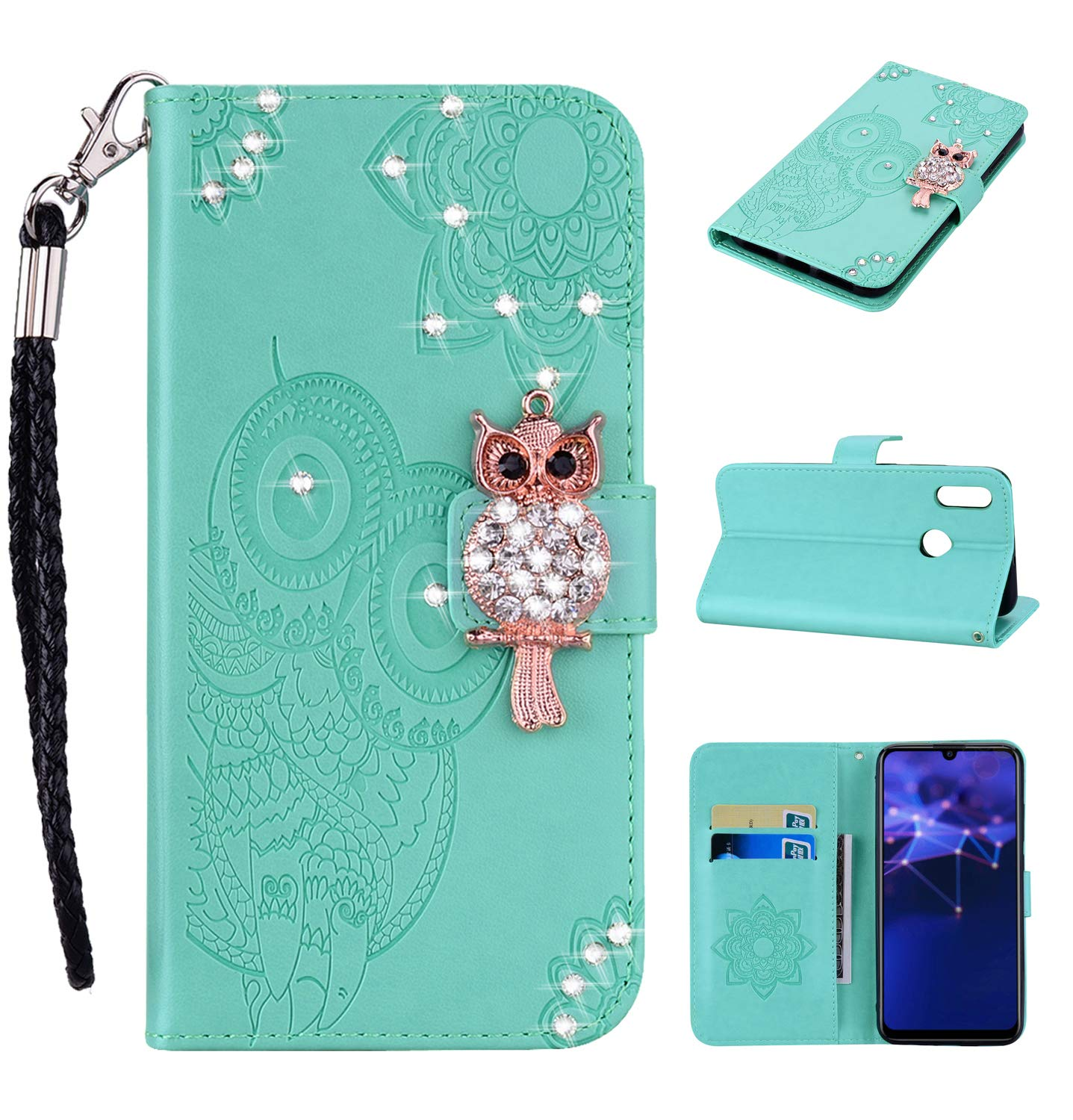 COZY HUT Huawei P Smart 2019 Case, Premium Slim PU Leather Flip Wallet [Diamond Owl] [Magnetic Closure] [Card Slots] Stand Function Cover Case for Huawei P Smart 2019 - Green diamond owl
