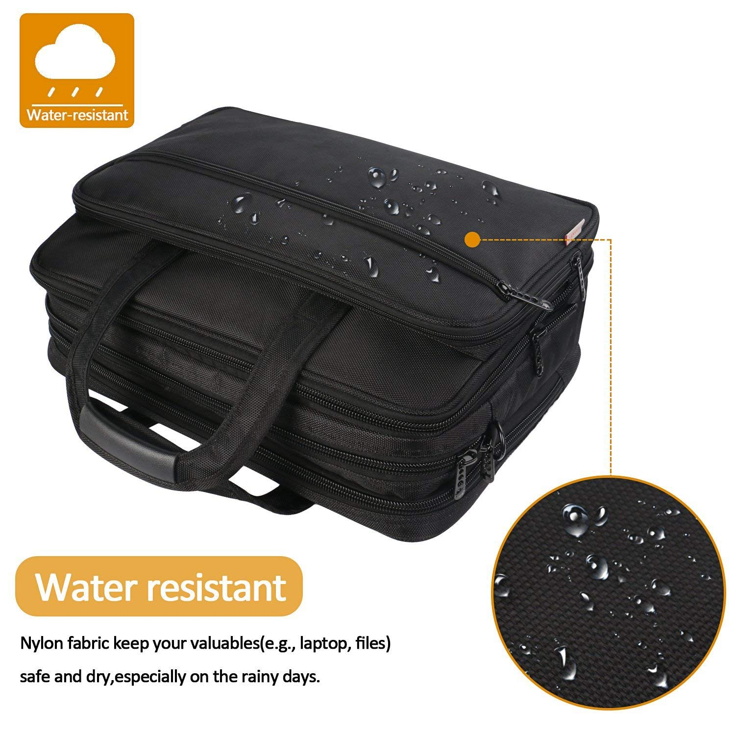 17 inch Laptop Bag, Large Business Briefcase for Men Women, Travel Laptop Case Shoulder Bag, Waterproof Carrying Case Fits 15.6 17 inch Laptop, Expandable Computer Bag for Notebook, Ultrabook by Mancro (Image #5)