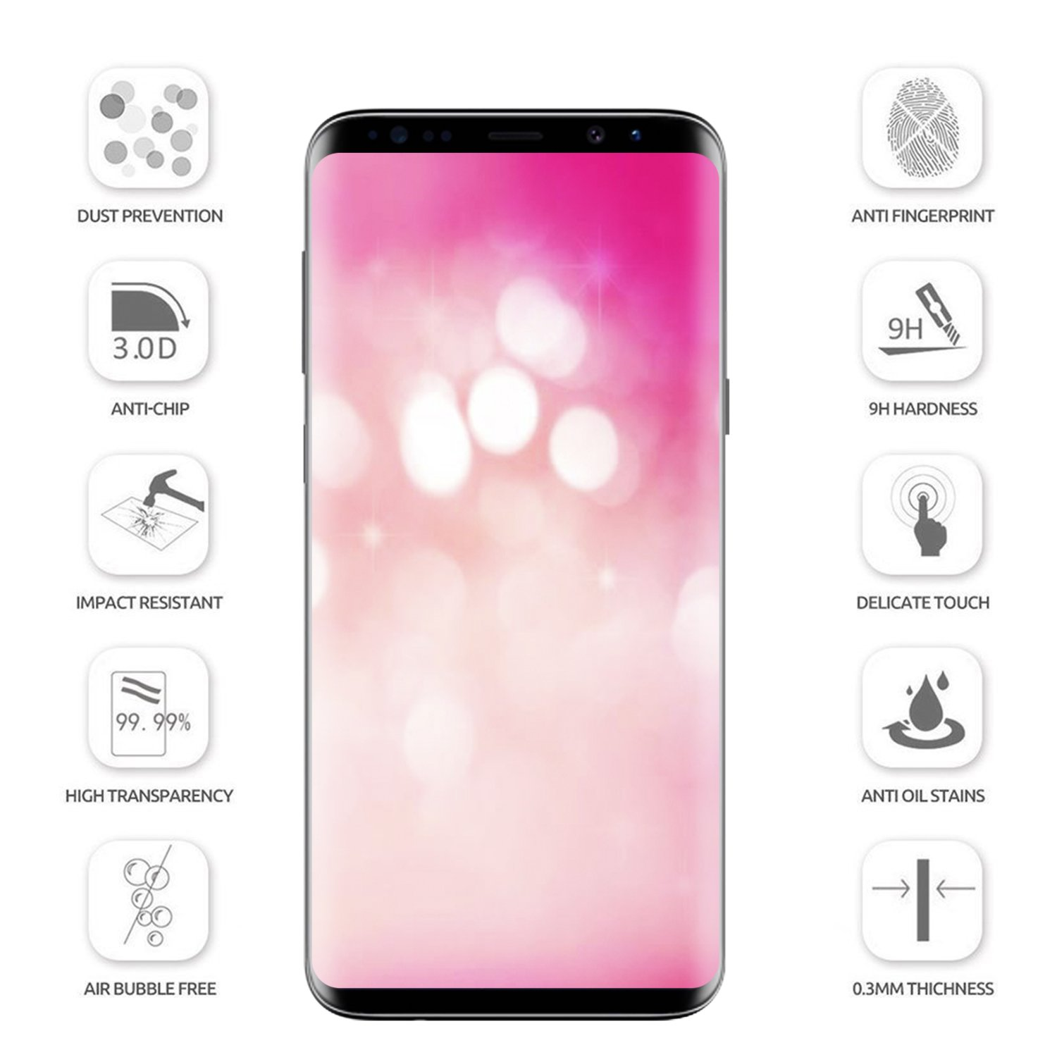 Amazon Galaxy S9 Screen Protector Tempered Glass 3D Full