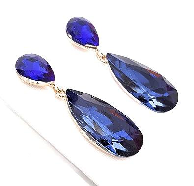 ed29f7935016 Pendientes Largos Mujer Bisutería Cristales de Colores Fiesta Boda Forma  Lágrima Chapado Oro
