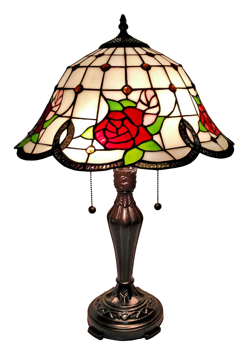 Amora Lighting Tiffany Style AM045TL16 Floral Table Lamp, 24'' H