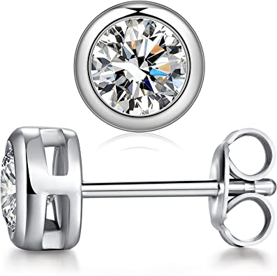 925 Sterling Silver 9mm Round CZ Stud Post Earrings