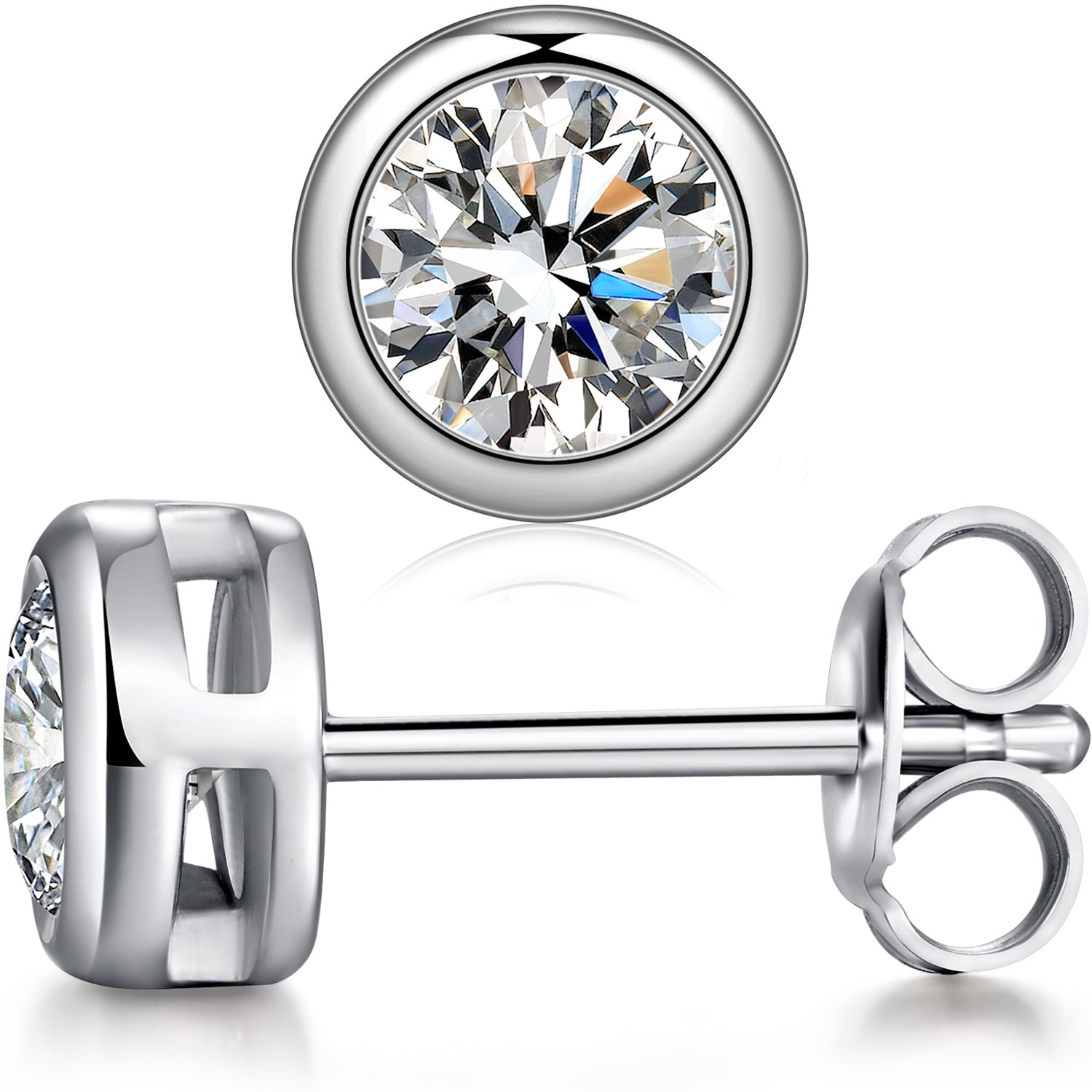 Amazon Sterling Silver Round Cut Cubic Zirconia Stud Earrings