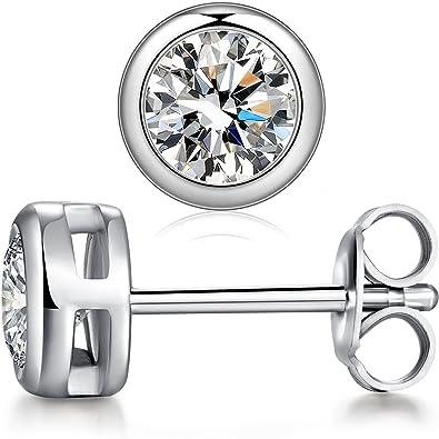 7d08265e0a229 ZowBinBin Sterling Silver Round Cubic Zirconia Stud Earrings