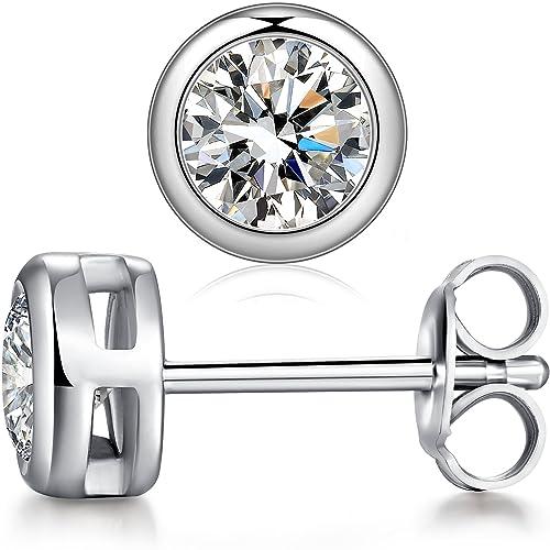1a0bd6c45982fd Bezel Studs Sterling Silver Cubic Zirconia CZ Bezel Stud Earrings 5mm Bezel CZ  Stud Earrings,
