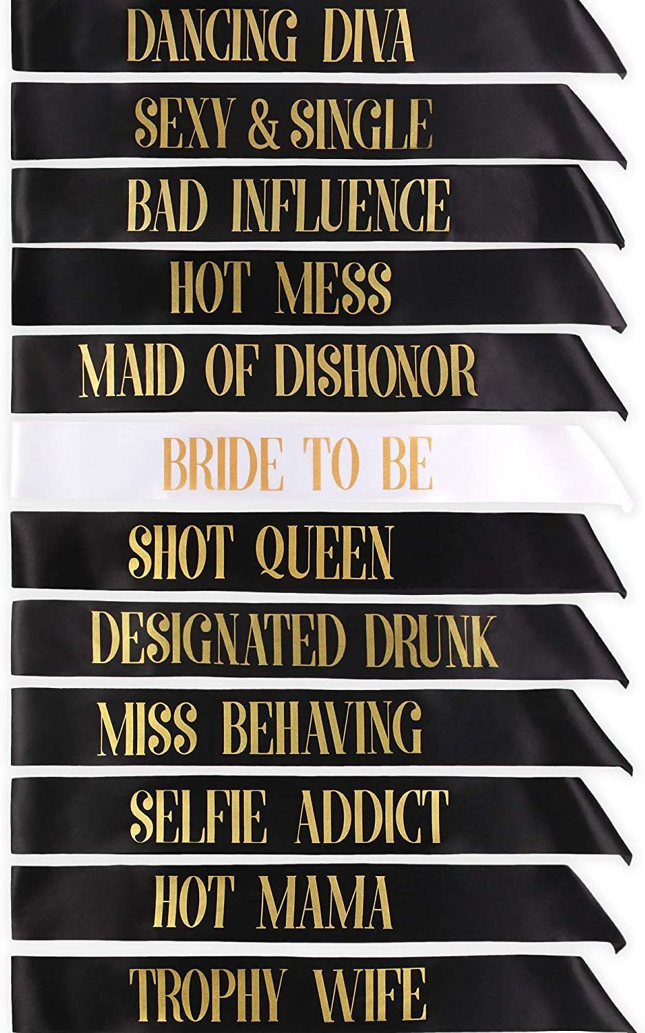 12x Black With Gold équipe Bride Sash sashes Hen Party Girls Night Out Do