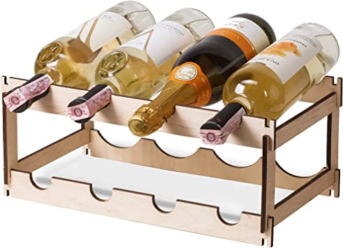 Amazon Com 8 Bottle Wine Rack 2 Tier Small Wine Bottle Rack Wine Display Rack Free Standing And Countertop Wine Storage Shelf Stackable Wood White Wine Rack Water Bottle Storage 4 Bottle In Row Kitchen
