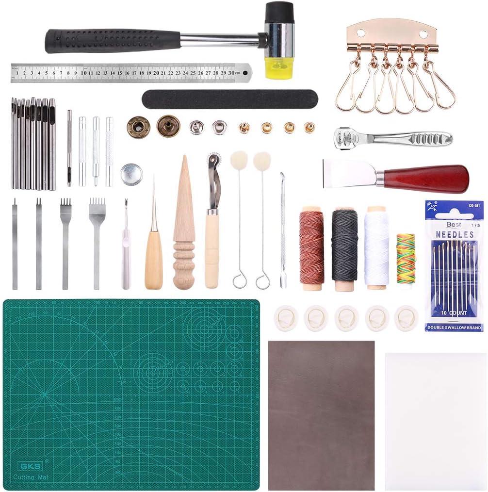 Wisfor 44 Piezas Herramientas de Cuero para Manualidades Kits de Repujado de Cuero para Costura Herramienta de Artesanía para DIY