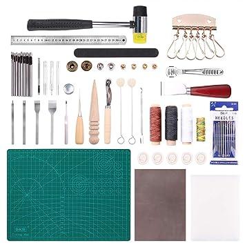 Malayas® 24Pcs Kit Outils Cuir Outil de Bricolage Kit Couture Sculpture DIY  Artisanat Maroquinerie Poinçon 1a30b3c2210