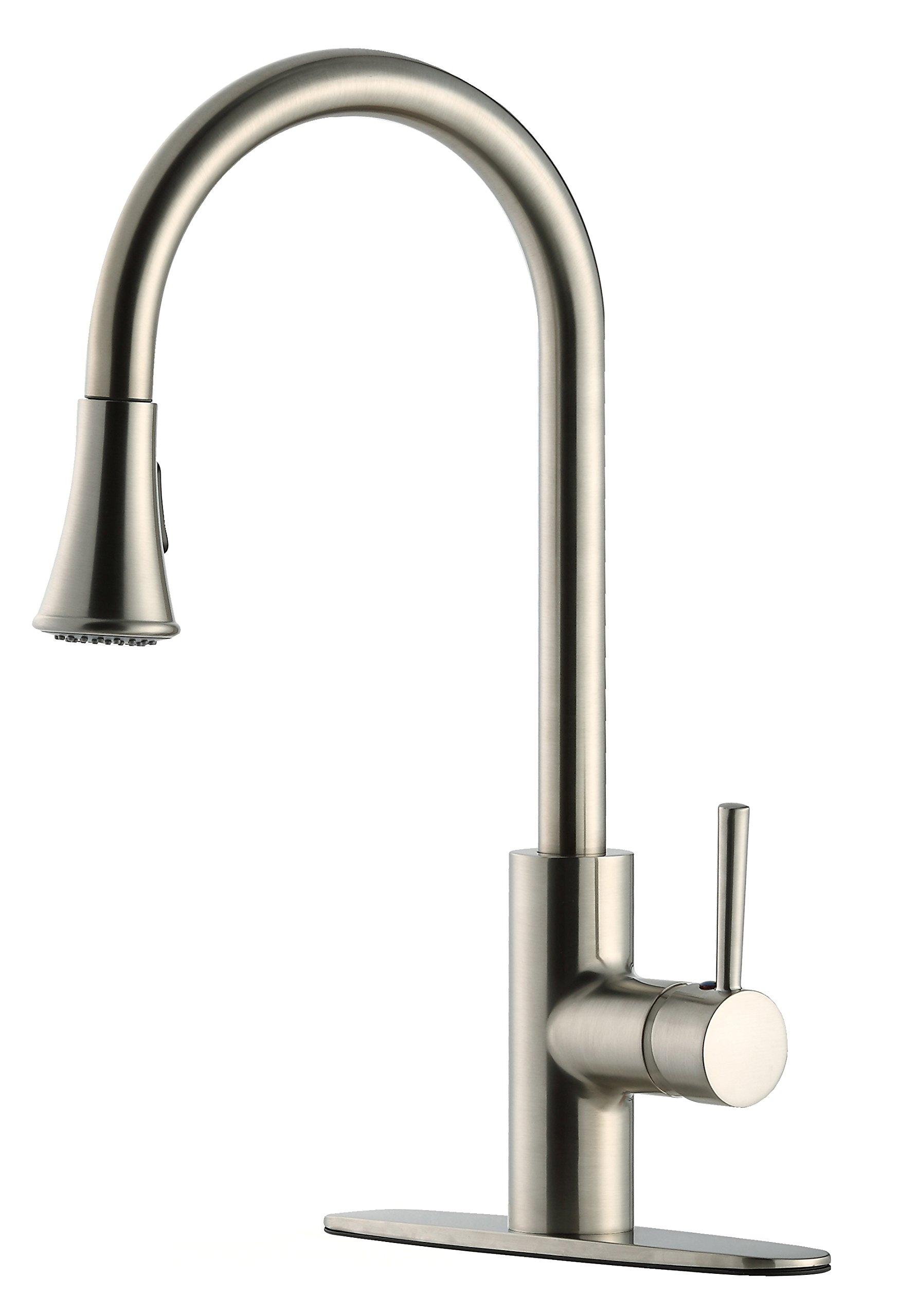 Derengge FK-258D-BN-CON 1 or 3-holes Brass Contemporary Stainless Steel Single Handle Pull-Down Kitchen Faucet,cUPC NSF AB1953 Lead Free Brushed Nickel