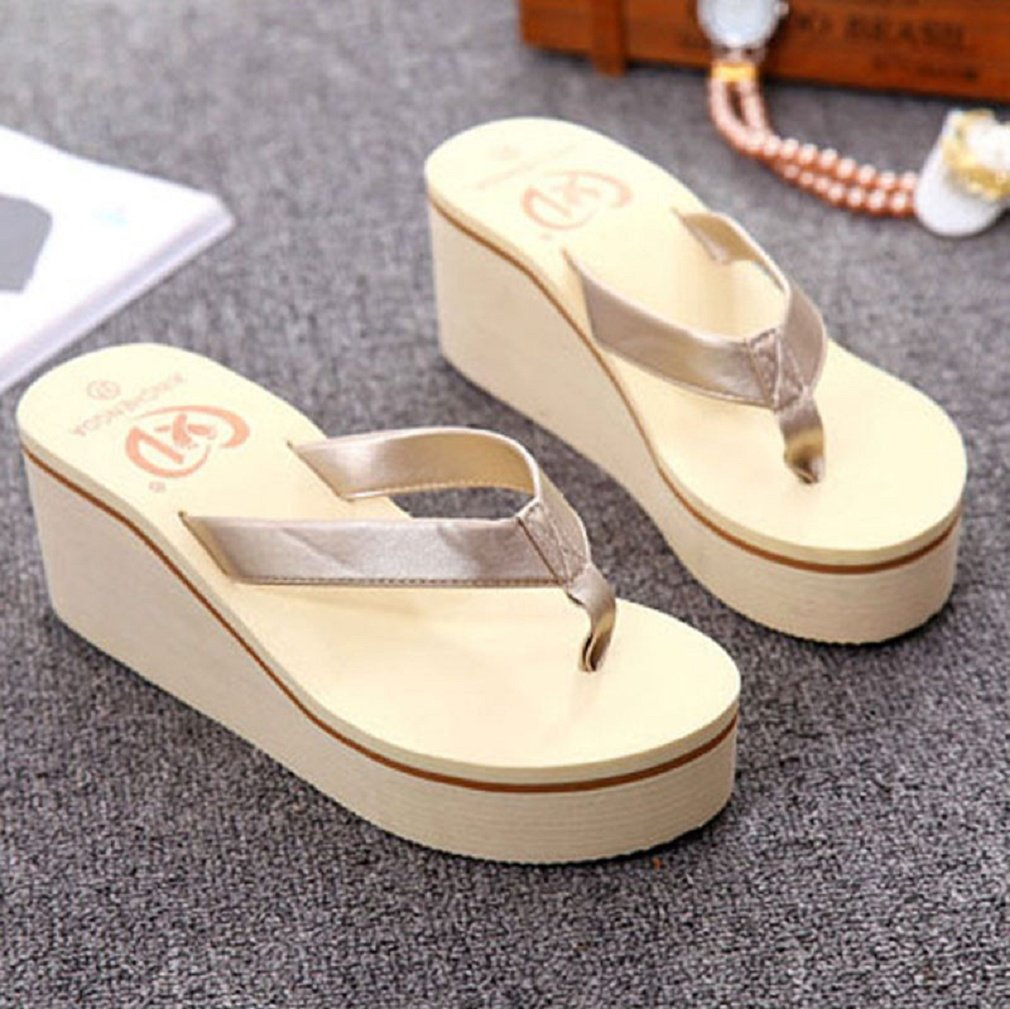 Women Flip Flops, SUKEQ Sexy Ladies Wedge Thong Flip Flops Sandals Bohemian Muffin Sandals Platform Wedge Summer Beach Slippers B0793QYG1R 7 B(M) US|Gold