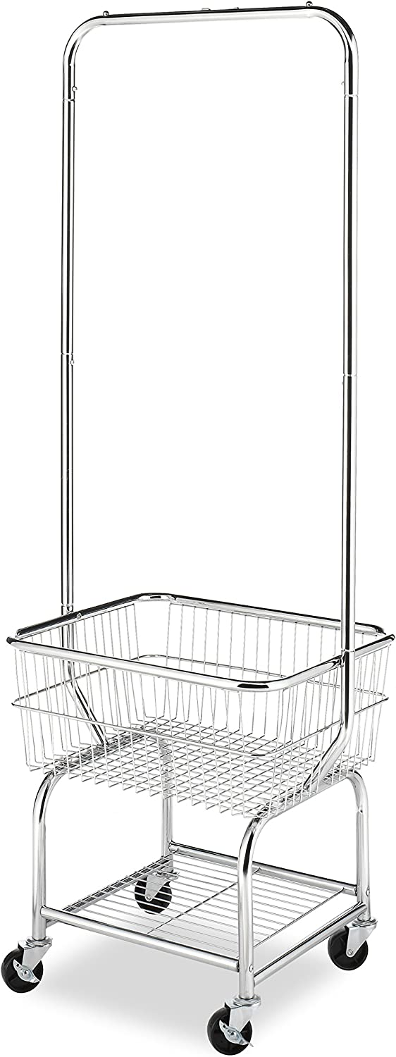 Whitmor Commercial Rolling Laundry Butler with Wire Storage Rack
