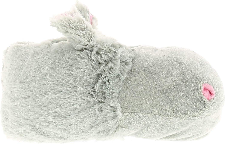 Wynsors Hippo Girls Kids Novelty Slippers Grey UK Size