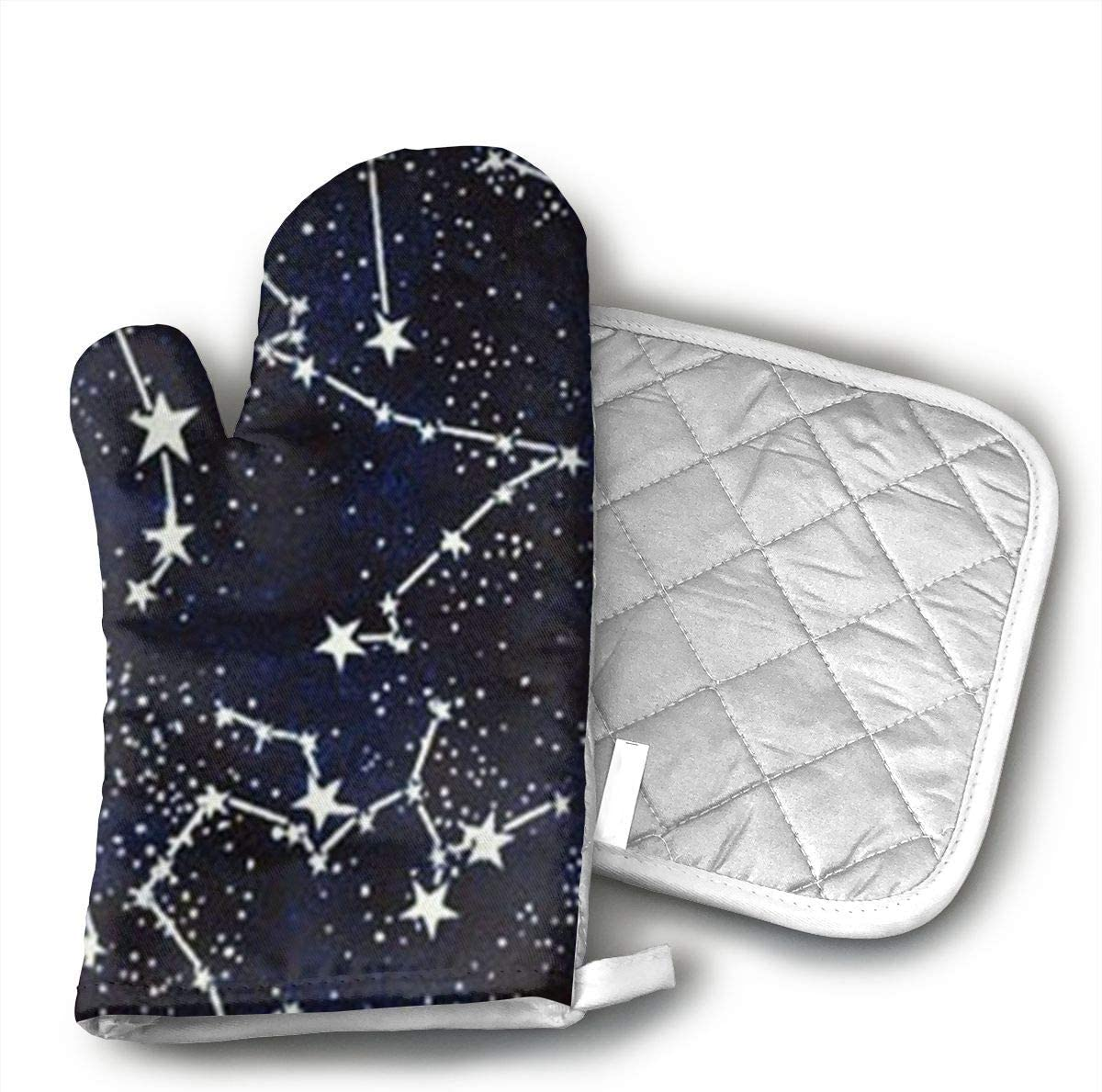 VFSFJKBG Glow in The Dark Constellations Midnight Fabric Oven Gloves, High Heat Resistance, Machine Washable High Heat Resistant Polyester Filling for Thanks Giving, Christmas