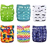 Babygoal Baby Adjustable Reuseable Pocket Diaper Pail 6pcs + 6 Inserts+6pcs baby wipes ,Neutral Color 6FN06
