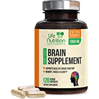 Brain Supplement Extra Strength Nootropics Booster 1000mg - Made in USA - Natural Memory Pills to Support Focus, Concentration, Memory & Clarity for Men & Women - 120 Capsules