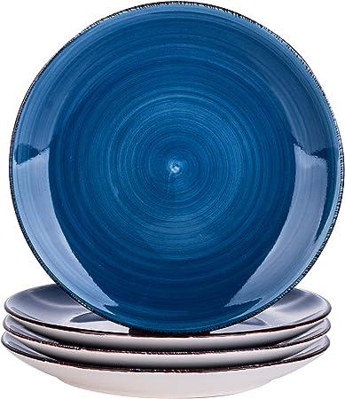 Oferta amazon: vancasso Serie Bella Platos de Postre 4 piezas, Juego de Platos Platos Llanos Gres, Azul Talla 4 platos postre