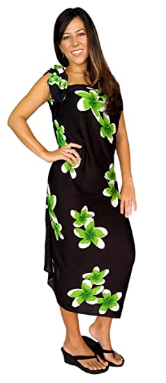 bef5d30051 1 World Sarongs Womens Plumeria Swimsuit Cover-Up Sarong in Black/Green