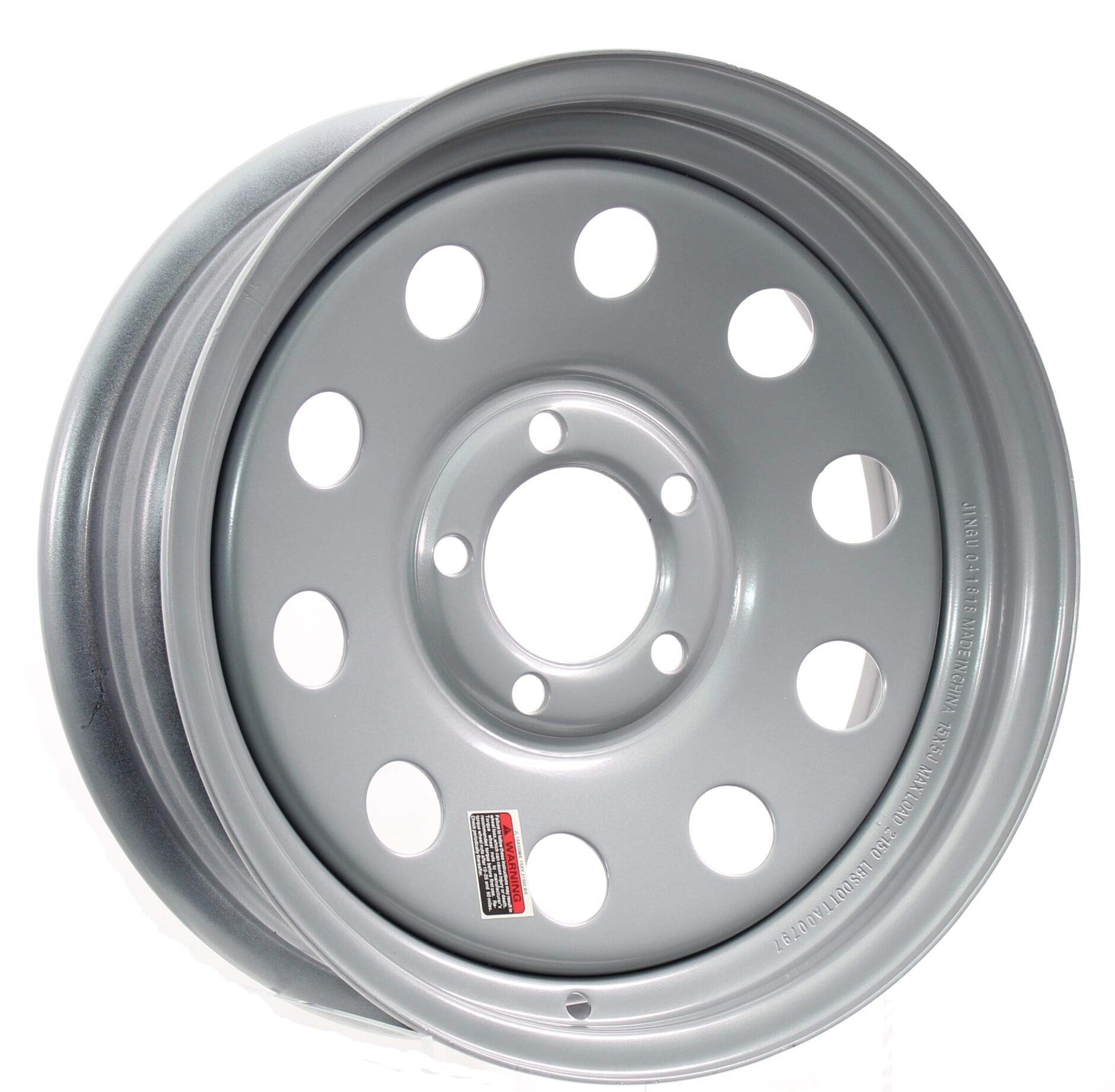 Southwest Wheel 15'' x 5'' Silver Modular Trailer Wheel (5-4.5 Bolt Circle) with Center Cap and Valve Stem by Southwest Wheel