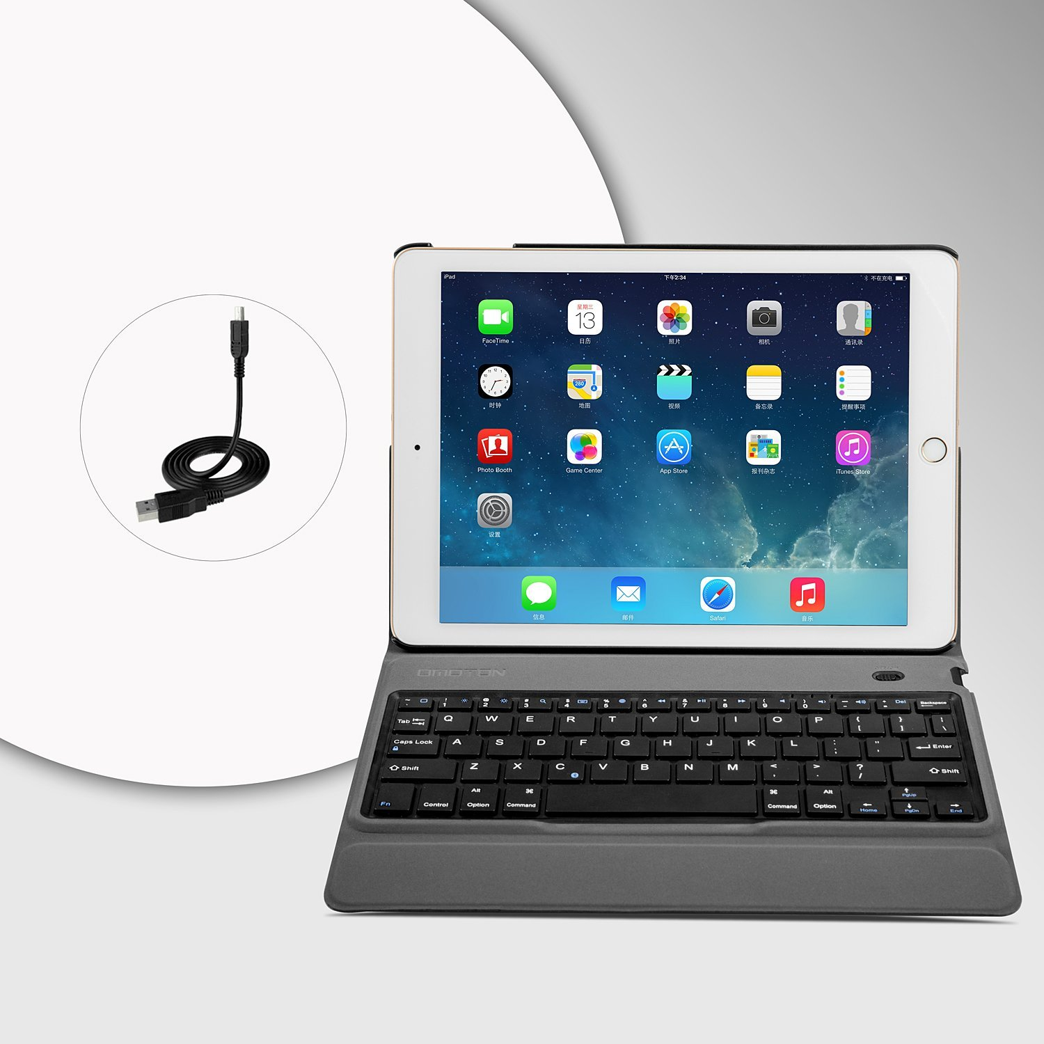 OMOTON New iPad 9.7 2018 & iPad 9.7 2017 Keyboard Case, [Upgraded Version] Ultra-Thin Bluetooth Keyboard Portfolio Case with Stand, PU Leather, and Auto Sleep/Wake for Apple iPad 9.7 2017 2018 Tablet by OMOTON (Image #9)