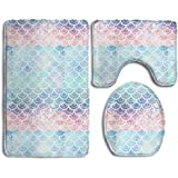 High Quality 3 Piece Bathroom Mat Set Mermaid Scales Turquoise Non Slip Bathroom Carpet  Rug Sets,