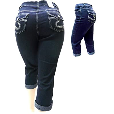 1826 Stretchy premium CAPRI DARK BLUE denim jeans HI WAIST WOMENS PLUS size 906