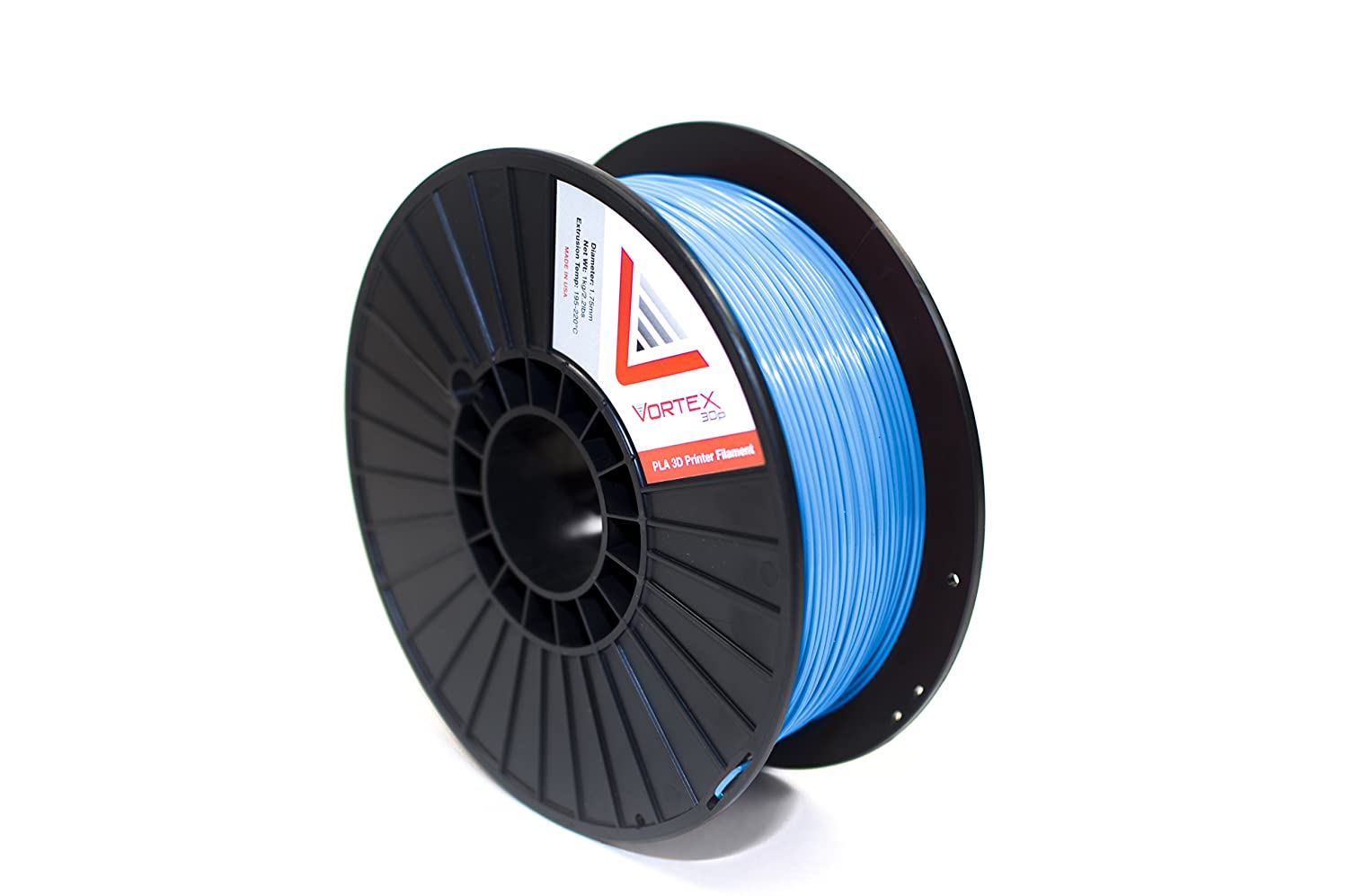 Vortex 3Dp Premium PLA Made in USA 1.75mm 3D Printer Filament 1kg/2.2lbs - Color: Baby Blue