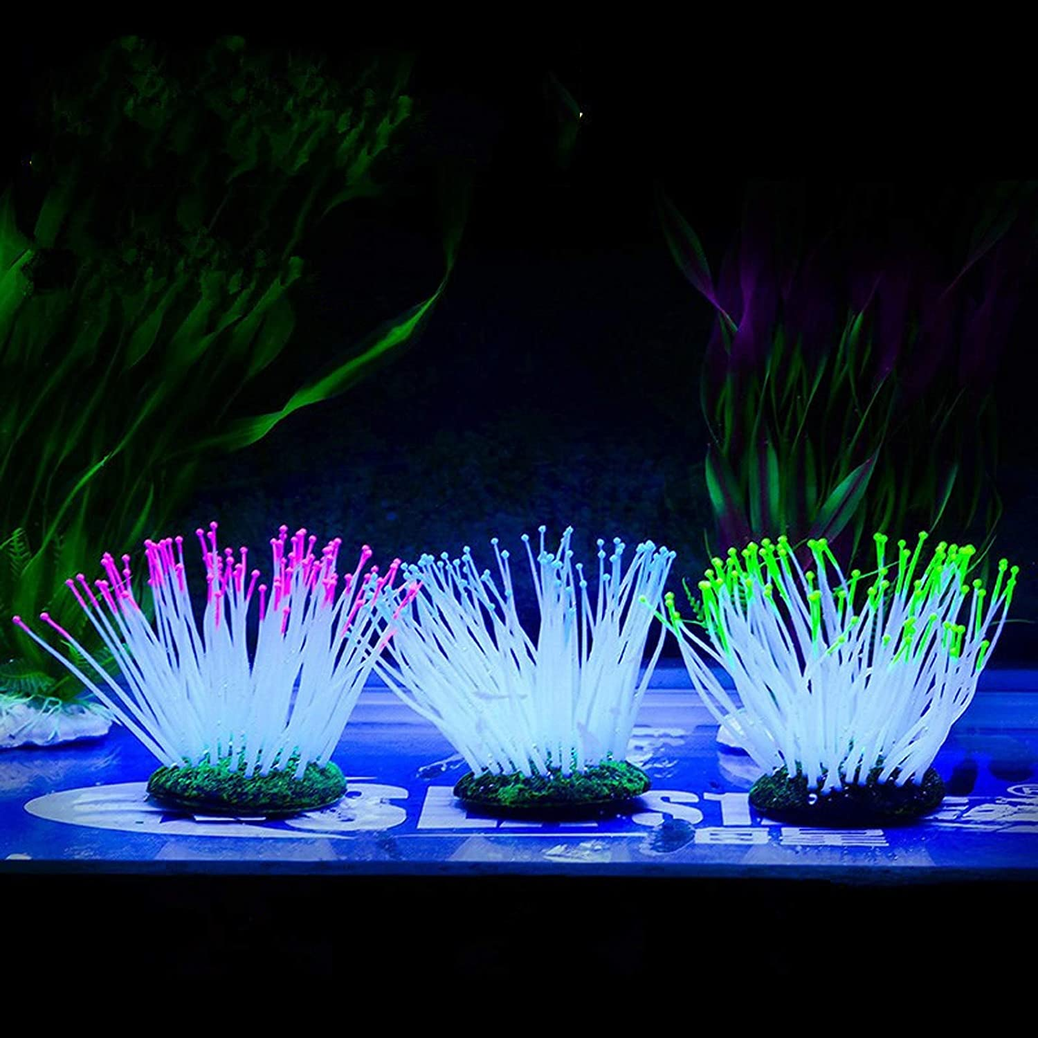 Besimple Artificial Luminous Sea Anemone Blue Simulation Silicone Coral Plants Ornament Glowing Sea Anemone with Suction Cup for Aquarium Fish Tank Decoration