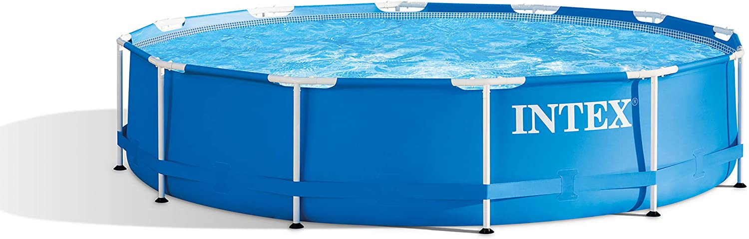 Navy Intex 28211ST 12-foot x 30-inch Metal Frame Round 6 Person Outdoor Backyard Above Ground Swimming Pool with Krystal Klear Filter Cartridge Pump