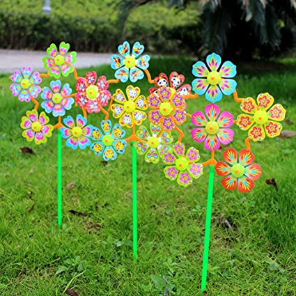 2x GARDEN WINDMILL SPINNER Colourful Bird Outdoor Ornament Flower Bed Decoration