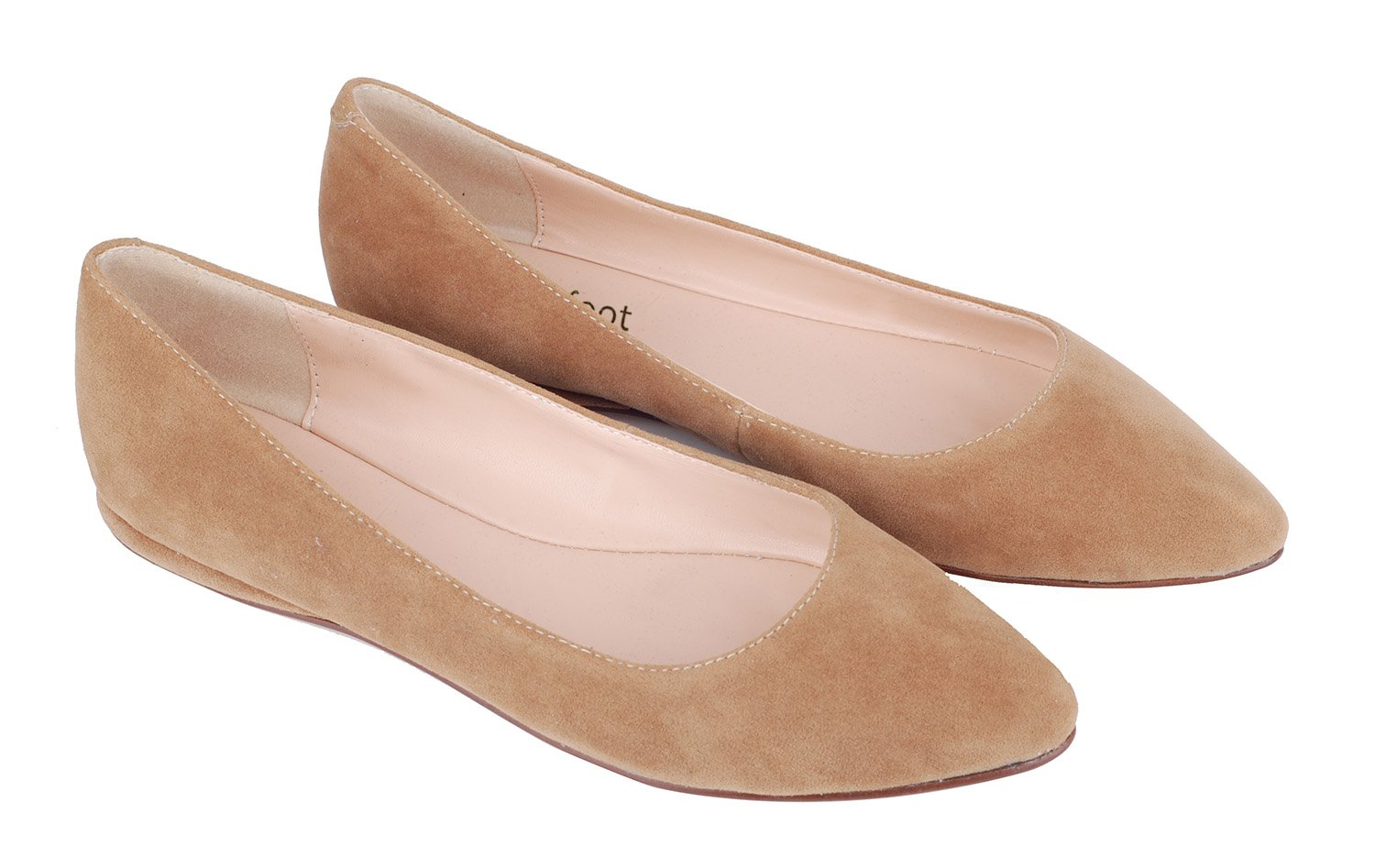 queenfoot Women's Genuine Suede Leather Pointed Toe Comfortable Ballet Flats Casual Pumps Shoes B01LWY1RZP 6 B(M) US|C-apricot Suede