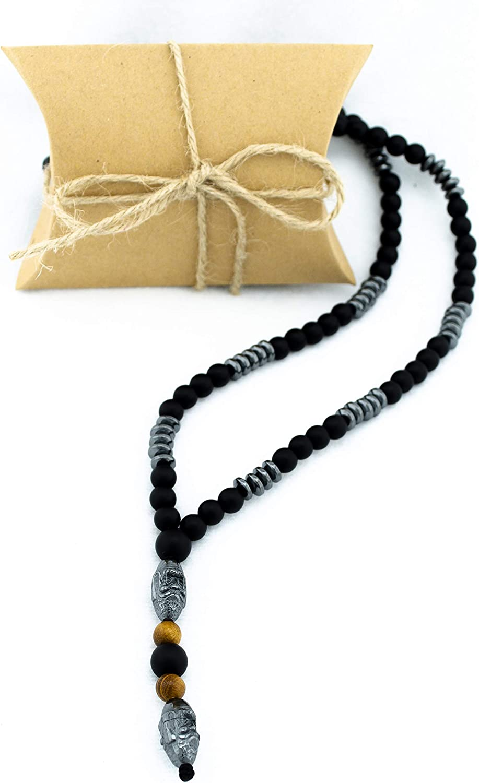 PerlaStyle Collar de Hombre con Piedra hematita Colgante Buda Estilo Vikingo 2020