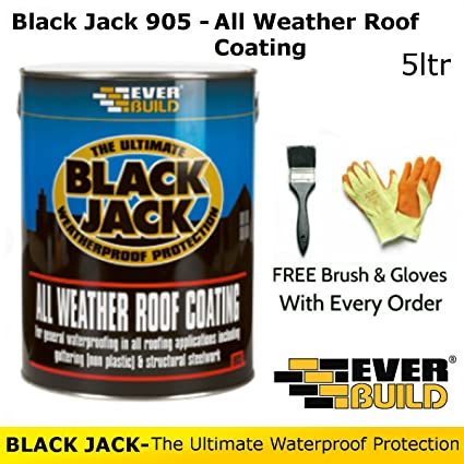 Black Jack 905 | All Weather Roof Coating | By Everbuild | FREE Brush and  Gloves | 5 Litres