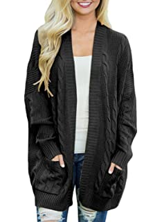 Omoone Women's Button Down Chunky Cable Twist Knit Cardigan