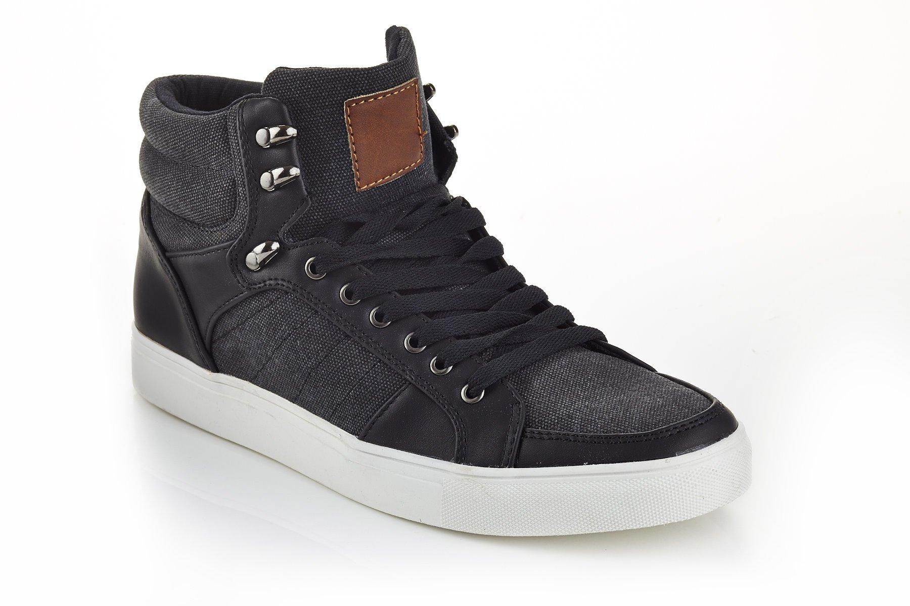 Franco Vanucci Mens High Top Lace Up Sneakers Black Black Size 13