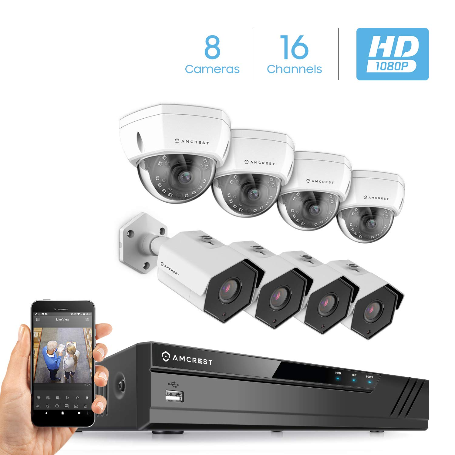 Amcrest 2MP 1080P Security Camera System, w 4K 16CH 8-Port PoE NVR, 8 x 2-Megapixel 3.6mm Wide Angle Lens Weatherproof Metal Bullet Dome PoE IP Cameras, NV4116E-IP2M-851EW4-IP2M-852EW4 White