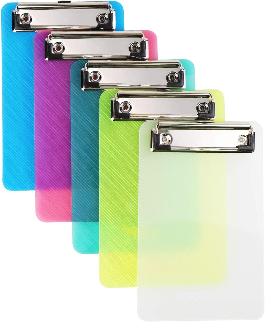 Plastic Colorful Clipboard,Pretty Cute Clipboard Memo Size Pocket Clip Boards 5x7 Inch A6 Clipboards for classrooms, Offices, Restaurants, Doctor Offices - Set of 5