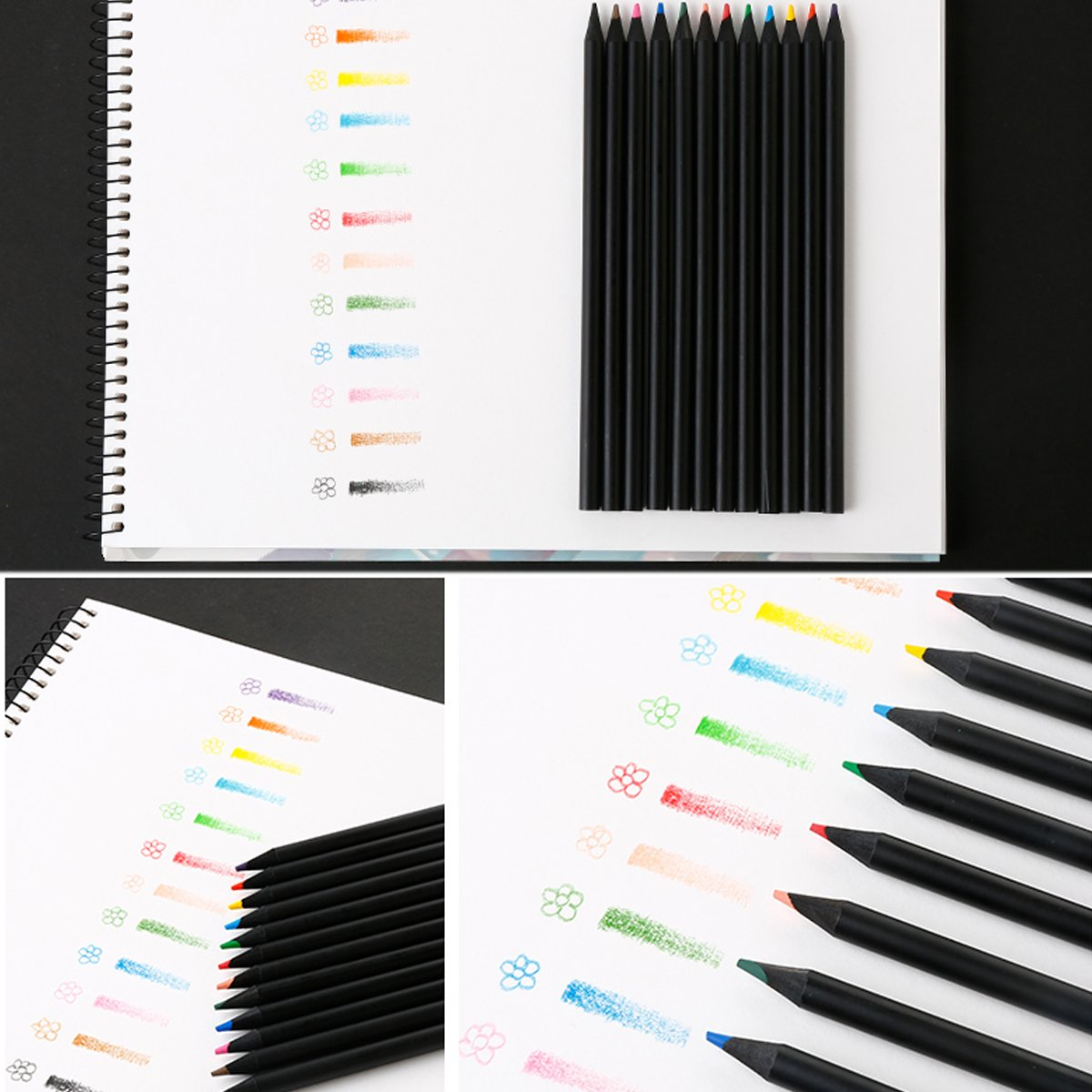 Colored Pencils 12 Colors for Kids Art Drawing - Woodless Coloring Pencil Set - Soft Core(Pack of 24)