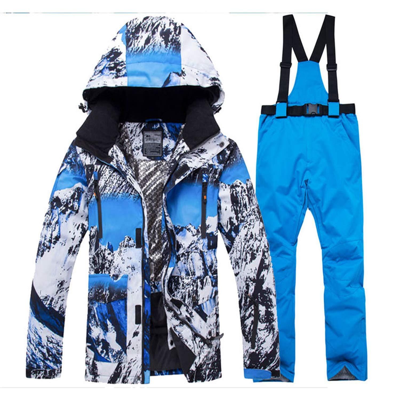 a3e82c542e Amazon.com  Jacket + Strap Pant Sets Men s Snow Suit Outdoor Sports  Clothing Snowboarding Sets Waterproof Windproof Winter Costume Ski Wear