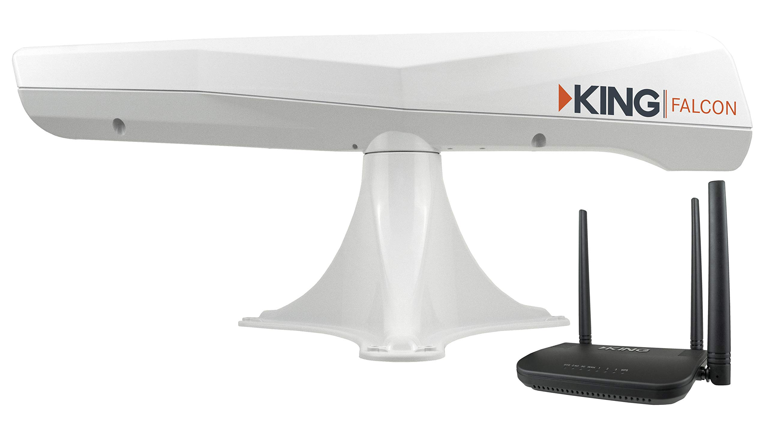 KING KF1000 Falcon Automatic Directional WiFi Antenna with WiFiMax Router and Range Extender - White by KING
