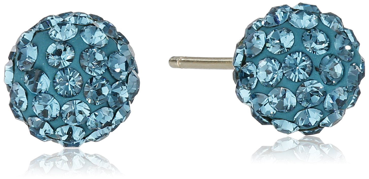 14k Yellow Gold Teal Swarovski Elements Crystal Button Stud Earrings