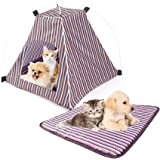 """Pet Tent ,Portable Folding Dog Cat House Bed Tent Waterproof Indoor Outdoor Cat Tent Teepee,16.8""""W x 16.8""""L x 16""""H (Red+Yellow)"""