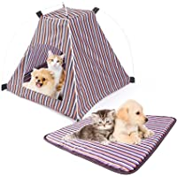 "Pet Tent,Portable Folding Dog Cat House Bed Tent Waterproof Indoor Outdoor Cat Tent Teepee,16.8"" W x 16.8"" L x 16"" H (Red+Yellow)"