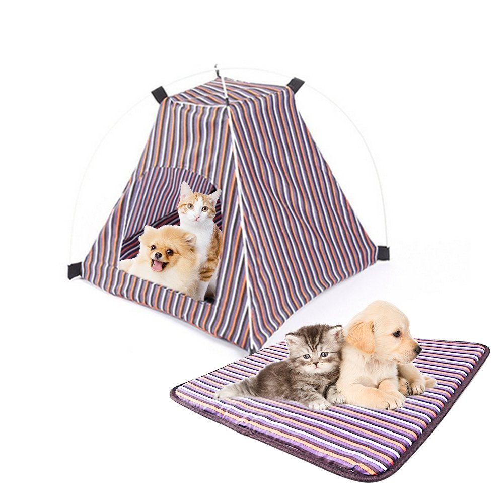Pet Tent ,Portable Folding Dog Cat House Bed Tent Waterproof Indoor Outdoor Cat Tent Teepee,16.8''W x 16.8''L x 16''H (Red+Yellow)