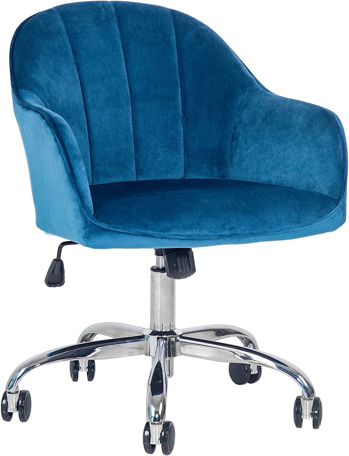 J&L Furniture Modern Design Velvet Desk Chair Mid-Back Home Office Chair Swivel Adjustable Task Chair Executive Accent Chair with Soft Seat (Blue)
